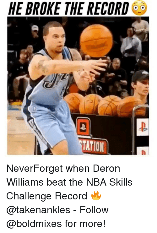 deron williams: HE BROKE THE RECORD  TATION NeverForget when Deron Williams beat the NBA Skills Challenge Record 🔥 @takenankles - Follow @boldmixes for more!