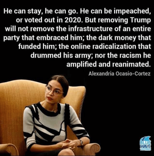 alexandria: He can stay, he can go. He can be impeached,  or voted out in 2020. But removing Trump  will not remove the infrastructure of an entire  party that embraced him; the dark money that  funded him; the online radicalization that  drummed his army; nor the racism he  amplified and reanimated.  Alexandria Ocasio-Cortez  BLUE  WAVE