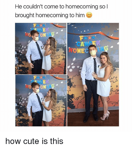Cute, Memes, and Omg: He couldn't come to homecoming so l  brought homecoming to him  OMG  CANCE  OMEC how cute is this