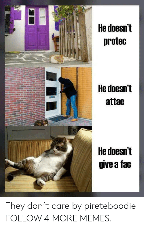 fac: He doesn't  protec  He doesn't  attac  He doesn't  give a fac They don't care by pireteboodie FOLLOW 4 MORE MEMES.