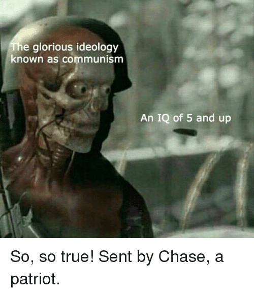 Memes, True, and Chase: he glorious ideology  known as communism  An IQ of 5 and up So, so true!  Sent by Chase, a patriot.