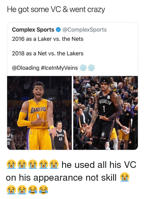 laker: He got some VC & went crazy  Complex Sports @ComplexSports  2016 as a Laker vs. the Nets  2018 as a Net vs. the Lakers  @Dloading #celnMyVeins eff  AKERS  15 😭😭😭😭😭 he used all his VC on his appearance not skill 😭😭😭😂😂