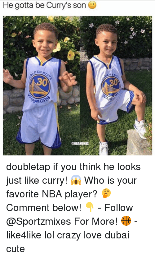 Crazy, Cute, and Lol: He gotta be Curry's son  DEN  RRIO doubletap if you think he looks just like curry! 😱 Who is your favorite NBA player? 🤔 Comment below! 👇 - Follow @Sportzmixes For More! 🏀 - like4like lol crazy love dubai cute