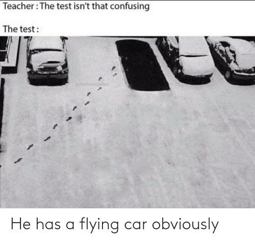 He Has: He has a flying car obviously