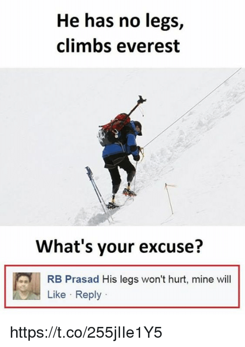 Whats Your Excuse: He has no legs,  climbs everest  What's your excuse?  RB Prasad His legs won't hurt, mine will  Like Reply https://t.co/255jIIe1Y5