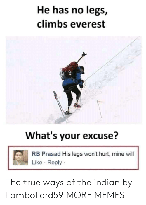 Whats Your Excuse: He has no legs,  climbs everest  What's your excuse?  RB Prasad His legs won't hurt, mine will  Like Reply The true ways of the indian by LamboLord59 MORE MEMES