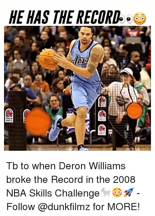 deron williams: HE HAS THE RECORD  TACO Tb to when Deron Williams broke the Record in the 2008 NBA Skills Challenge🐐😳🚀 - Follow @dunkfilmz for MORE!