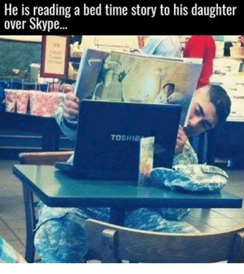 Time Story: He is reading a bed time story to his daughter  over Skype...  TOSHIB