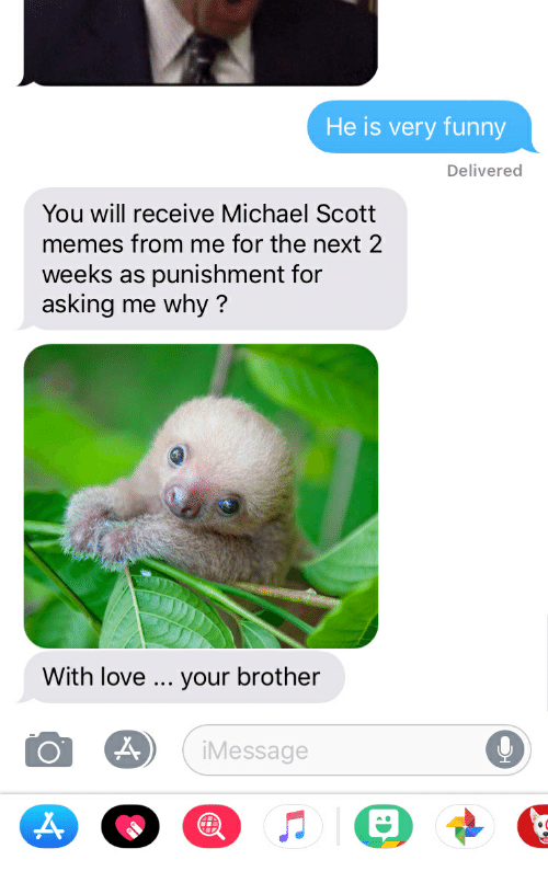 Michael Scott Memes: He is very funny  Delivered  You will receive Michael Scott  memes from me for the next 2  weeks as punishment for  asking me why?  With love  your brother  Message