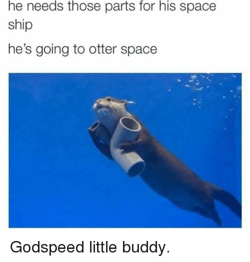 Otterly: he needs those parts for his space  ship  he's going to otter space Godspeed little buddy.