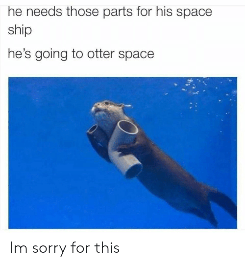 Otter Space: he needs those parts for his space  ship  he's going to otter space Im sorry for this