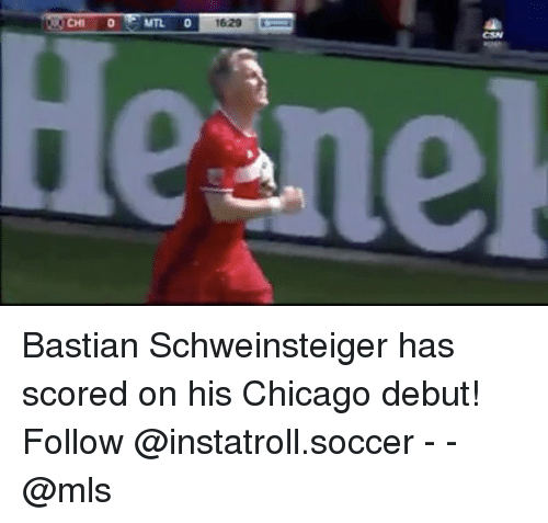 Chicago, Memes, and Soccer: He nek Bastian Schweinsteiger has scored on his Chicago debut! Follow @instatroll.soccer - - @mls