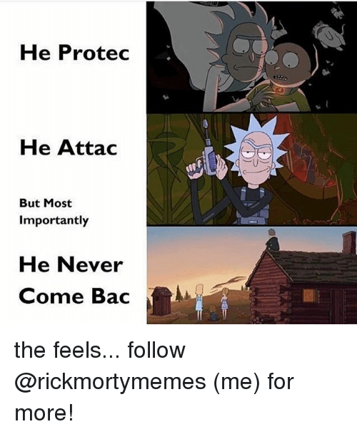 Memes, Never, and 🤖: He Protec  He Attac  But Most  Importantly  He Never  Come Bac the feels... follow @rickmortymemes (me) for more!