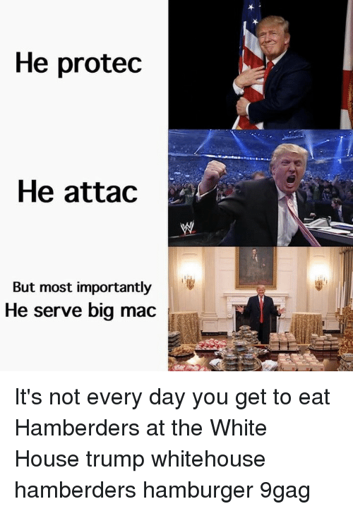 whitehouse: He protec  He attac  But most importantly  He serve big mac It's not every day you get to eat Hamberders at the White House⠀ trump whitehouse hamberders hamburger 9gag