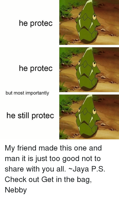 Nebby: he protec  he protec  but most importantly  he still protec My friend made this one and man it is just too good not to share with you all. ~Jaya   P.S. Check out Get in the bag, Nebby