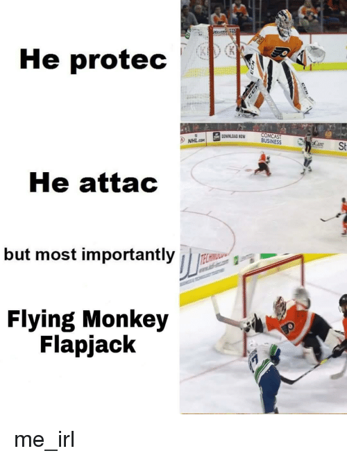 flying monkey: He protec  UOWNLDAD NOW CSt  BUSINESS a  NHL.CO  Care  le attac  but most importantly  Flying Monkey  Flapjack
