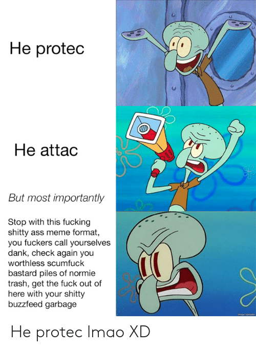 Ass Meme: He proted  He attac  But most importantly  Stop with this fucking  shitty ass meme format,  you fuckers call yourselves  dank, check again you  worthless scumfuck  bastard piles of normie  trash, get the fuck out of  here with your shitty  buzzfeed garbage He protec lmao XD