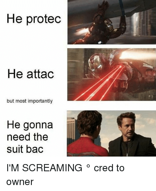 Memes, 🤖, and Bac: He protedc  He attac  but most importantly  He gonna  need the  suit bac I'M SCREAMING ° 《cred to owner》