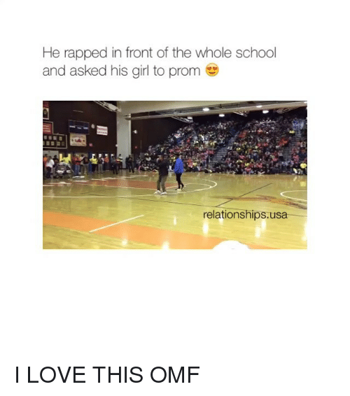 Relationships: He rapped in front of the whole school  and asked his girl to prom  relationships usa I LOVE THIS OMF