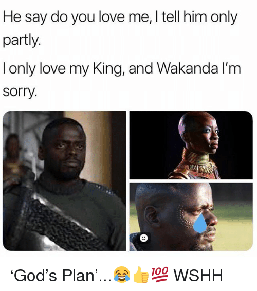 Love, Memes, and Sorry: He say do you love me, I tell him only  partly  l only love my King, and Wakanda l'm  sorry 'God's Plan'...😂👍💯 WSHH