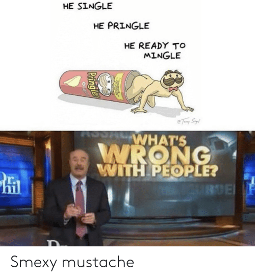 mustache: HE SINGLE  HE PRINGLE  HE READY TO  MINGLE  e Tay Syl  WHAT'S  WRONG  WITH PEOPLE?  IRDE  Paingle Smexy mustache