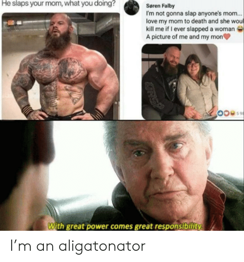 What You Doing: He slaps your mom, what you doing?  Søren Falby  I'm not gonna slap anyone's mom...  love my mom to death and she wou  kill me if I ever slapped a woman  A picture of me and my mon  With great power comes great responsibility  GRS? I'm an aligatonator