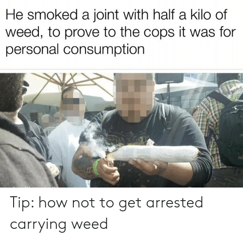 kilo: He smoked a joint with half a kilo of  weed, to prove to the cops it was for  personal consumption Tip: how not to get arrested carrying weed