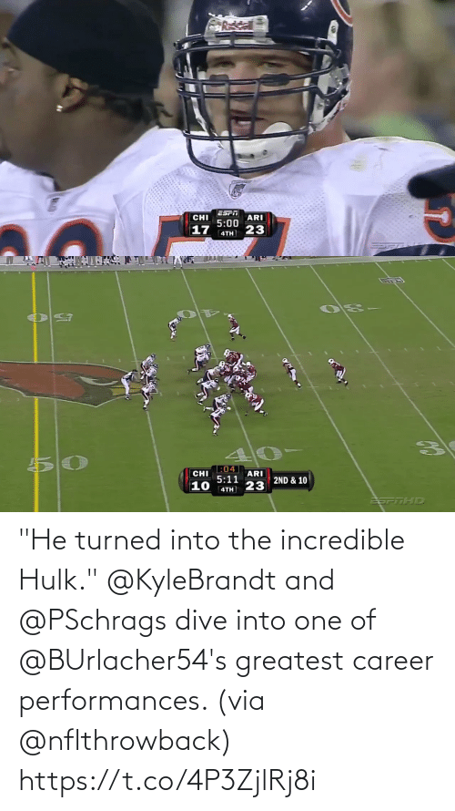 """Hulk: """"He turned into the incredible Hulk.""""  @KyleBrandt and @PSchrags dive into one of @BUrlacher54's greatest career performances. (via @nflthrowback) https://t.co/4P3ZjlRj8i"""