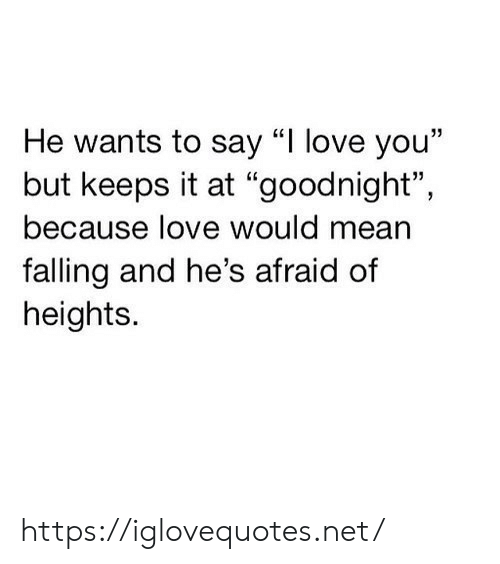 "Heights: He wants to say ""I love you""  but keeps it at ""goodnight"",  because love would mean  falling and he's afraid of  heights. https://iglovequotes.net/"