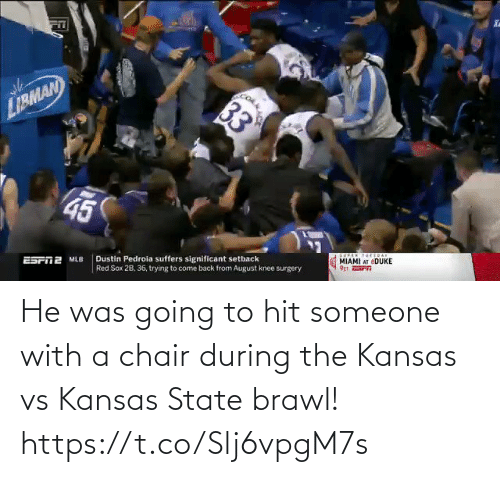 kansas: He was going to hit someone with a chair during the Kansas vs Kansas State brawl!  https://t.co/Slj6vpgM7s