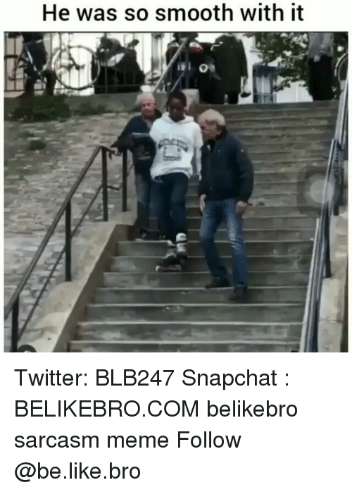 Be Like, Meme, and Memes: He was so smooth with it Twitter: BLB247 Snapchat : BELIKEBRO.COM belikebro sarcasm meme Follow @be.like.bro