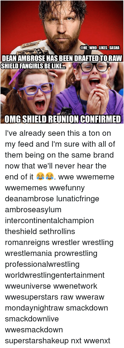Memes, Wrestling, and World Wrestling Entertainment: @HE WHO LIKES SASHA  DEAN AMBROSE HAS BEEN DRAFTED TORAWI  SHIELD FANGIRLSBELIKE  OMGSHIELD REUNION CONFIRMED I've already seen this a ton on my feed and I'm sure with all of them being on the same brand now that we'll never hear the end of it 😂😂. wwe wwememe wwememes wwefunny deanambrose lunaticfringe ambroseasylum intercontinentalchampion theshield sethrollins romanreigns wrestler wrestling wrestlemania prowrestling professionalwrestling worldwrestlingentertainment wweuniverse wwenetwork wwesuperstars raw wweraw mondaynightraw smackdown smackdownlive wwesmackdown superstarshakeup nxt wwenxt