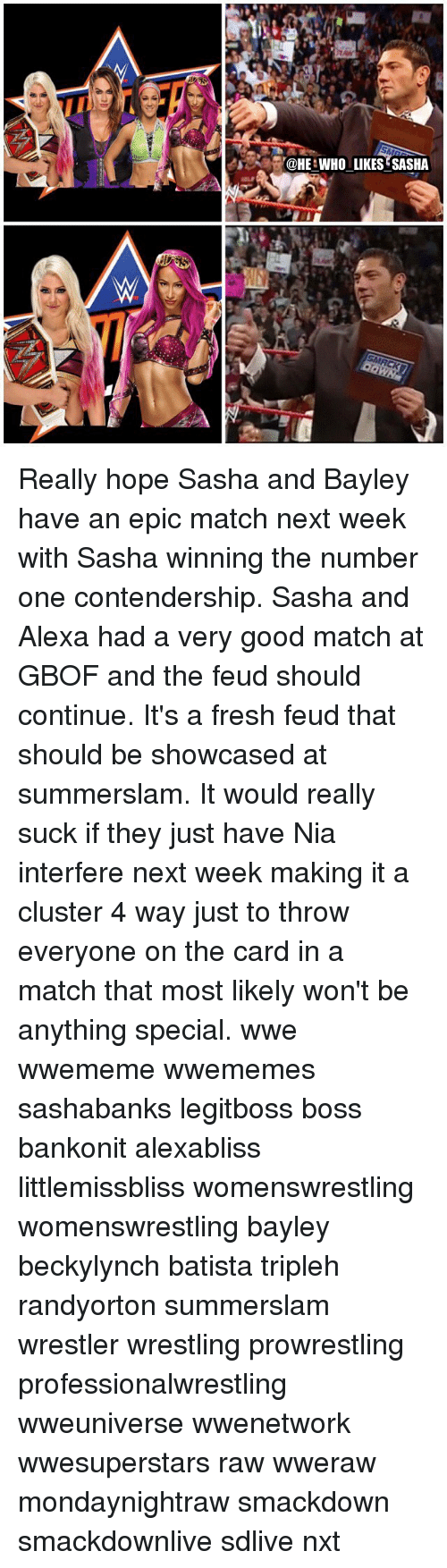 Batista: HE WHO LIKES?SASHA Really hope Sasha and Bayley have an epic match next week with Sasha winning the number one contendership. Sasha and Alexa had a very good match at GBOF and the feud should continue. It's a fresh feud that should be showcased at summerslam. It would really suck if they just have Nia interfere next week making it a cluster 4 way just to throw everyone on the card in a match that most likely won't be anything special. wwe wwememe wwememes sashabanks legitboss boss bankonit alexabliss littlemissbliss womenswrestling womenswrestling bayley beckylynch batista tripleh randyorton summerslam wrestler wrestling prowrestling professionalwrestling wweuniverse wwenetwork wwesuperstars raw wweraw mondaynightraw smackdown smackdownlive sdlive nxt