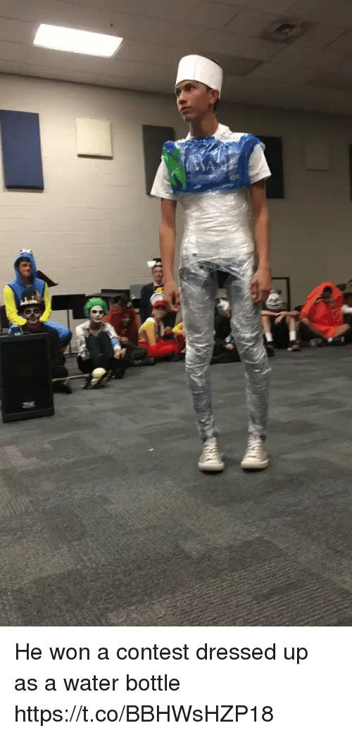 Water, Hood, and Water Bottle: He won a contest dressed up as a water bottle https://t.co/BBHWsHZP18