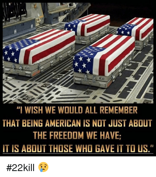 "Freedomed: HEAD  ""I WISH WE WOULD ALL REMEMBER  THAT BEING AMERICAN IS NOT JUST ABOUT  THE FREEDOM WE HAVE  IT IS ABOUT THOSE WHO GAVE IT TO US."" #22kill 😢"
