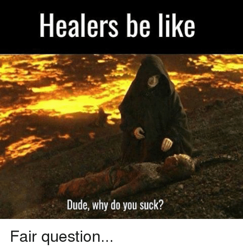 Memes, 🤖, and Questions: Healers be like  Dude, why do you suck? Fair question...