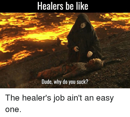 Dude, Memes, and Jobs: Healers be like  Dude, why do you suck? The healer's job ain't an easy one.