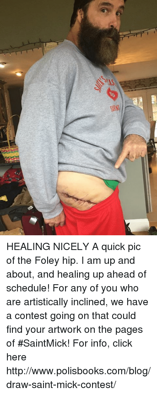 Click, Memes, and Blog: HEALING NICELY  A quick pic of the Foley hip. I am up and about, and healing up ahead of schedule!  For  any of you who are artistically inclined, we have a contest going on that could find your artwork on the pages of #SaintMick! For info, click here http://www.polisbooks.com/blog/draw-saint-mick-contest/