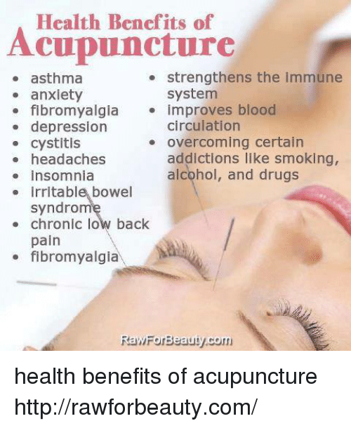 the benefits of acupuncture Acupuncture is actually a viable option for pain relief (among many other applications), and is increasingly chosen as a complement to conventional medicine.