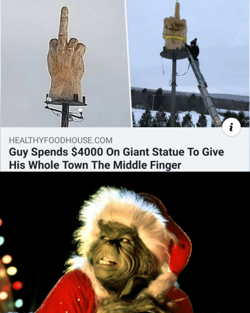 finger: HEALTHYFOODHOUSE.COM  Guy Spends $4000 On Giant Statue To Give  His Whole Town The Middle Finger