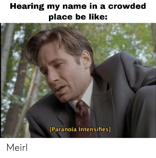 crowded: Hearing my name in a crowded  place be like:  [Paranoia Intensifies] Meirl