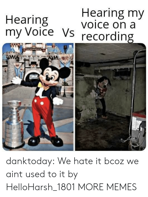 We Hate: Hearing my  voice on a  Hearing  my Voice Vs  recording danktoday:  We hate it bcoz we aint used to it by HelloHarsh_1801 MORE MEMES
