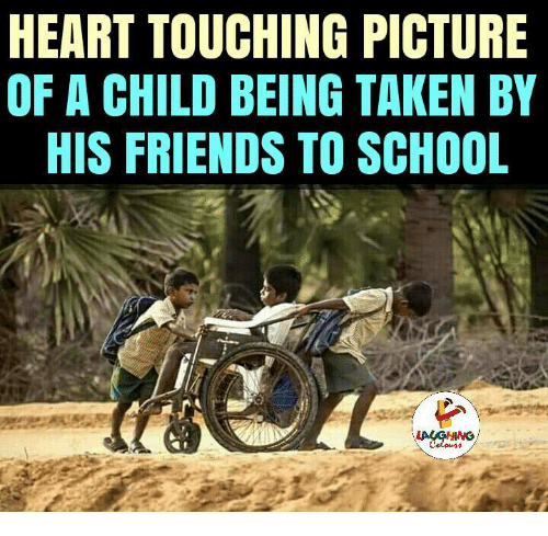 Indianpeoplefacebook: HEART TOUCHING PICTURE  OF A CHILD BEING TAKEN BY  HIS FRIENDS TO SCHOOL