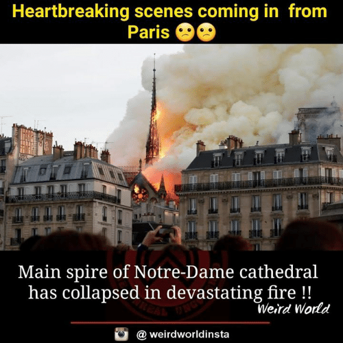 Coming In: Heartbreaking scenes coming in from  Paris  Main spire of Notre-Dame cathedral  has collapsed in devastating fire!!  Weird World  @ weirdworldinsta