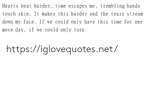 One More: Hearts beat harder, time escapes me, trembling hands  touch skin. It makes this harder and the tears stream  down my face. If we could only have this time for one  more day, if we could only turn https://iglovequotes.net/