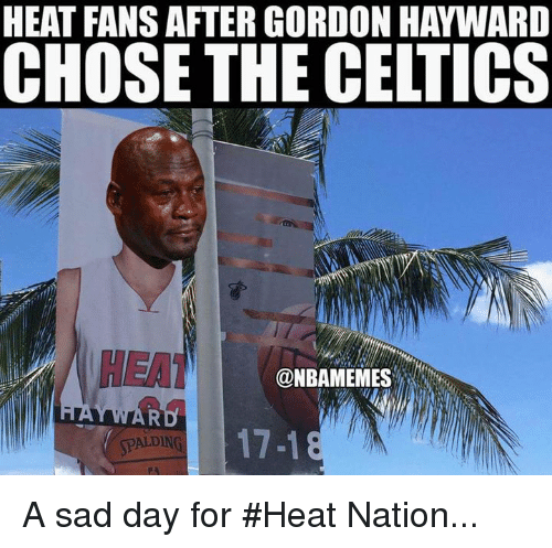 heat fans after gordon hayward chose the celtics hea nbamemes 25318603 🔥 25 best memes about heat fans heat fans memes,Heat Fans Meme