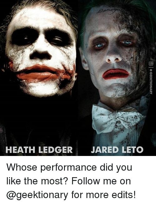 Heath Ledger: HEATH LEDGER  JARED LETO Whose performance did you like the most? Follow me on @geektionary for more edits!