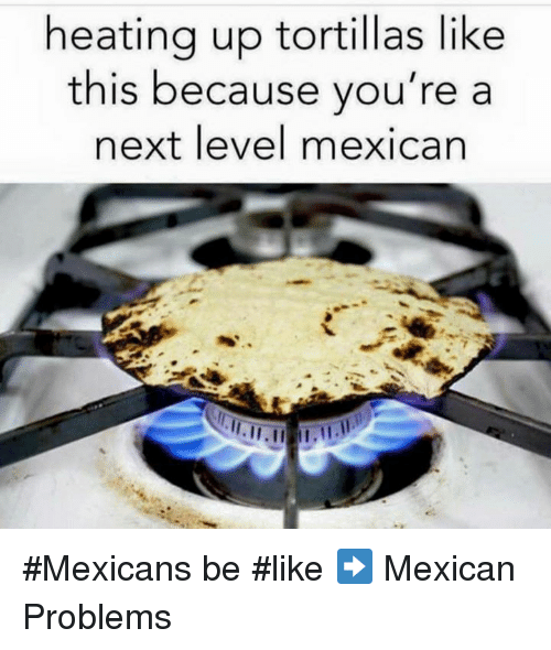 Mexicans Be Like: heating up tortillas like  this because you're a  next level mexican #Mexicans be #like ➡ Mexican Problems