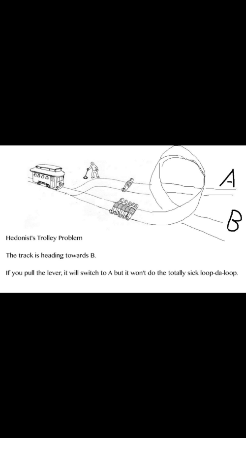 Sick, Trolley, and Switch: Hedonist's Trolley Problem  The track is heading towards B.  If you pull the lever, it will switch to A but it won't do the totally sick loop-da-loop.