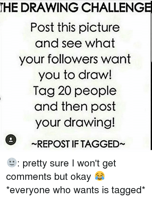 Memes, Okay, and Tagged: HEDRAWING CHALLENGE  Post this picture  and see what  your followers want  you to draw!  Tag 20 people  and then post  your drawing!  REPOST IF TAGGED 🌝: pretty sure I won't get comments but okay 😂 *everyone who wants is tagged*